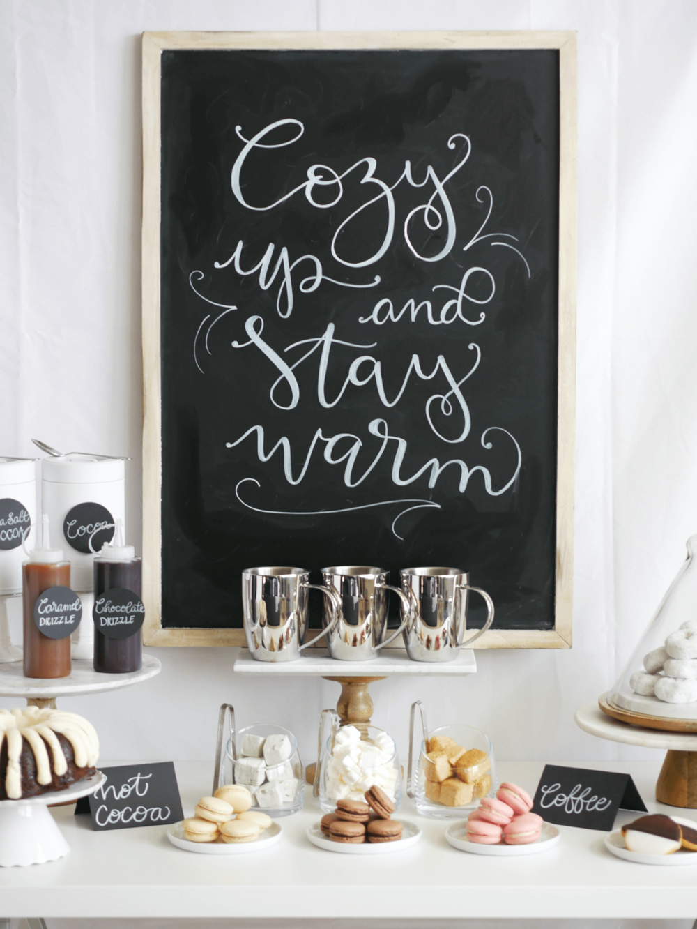 Hot Cocoa and coffee bar / winter hot cocoa station / coffee bar idea / Styled by Carolina from MINT Event Design / www.minteventdesign.com