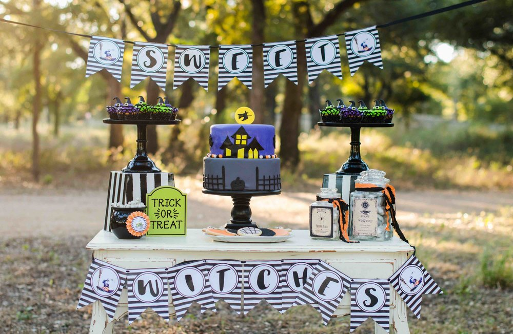 It's a Little Witches' Soiree Halloween Party with an amazing Halloween Dessert Table filled with witch cupcakes, candy jars and a Halloween Cake. Click to see all the Halloween Party Ideas that you can re-create for your very own Halloween Kids Party. Styled by party stylist Mint Event Design. #halloween #partyideas #partyinspiration #partydecor #partyprintables #desserttable #halloweenprintables #halloweendecorations
