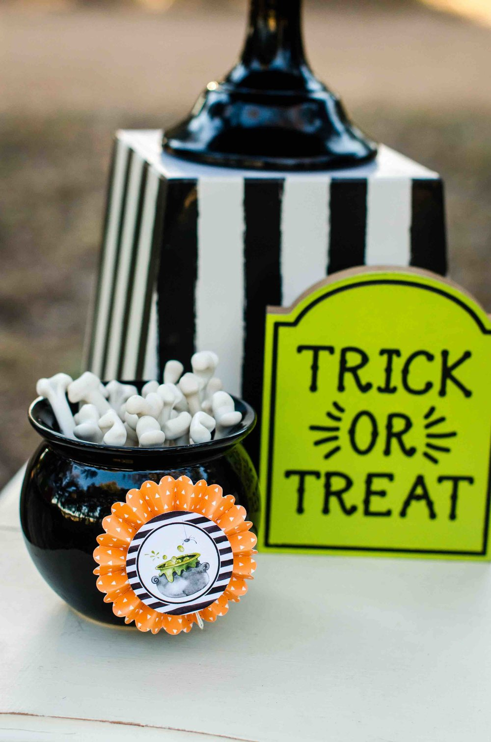 Trick or Treat, these Halloween Candy Bones are the perfect choice for displaying in a plastic cauldron on your Halloween Dessert Table. Click to see all the Halloween Party Ideas that you can re-create for your very own Halloween Kids Party. Styled by party stylist Mint Event Design. #halloween #partyideas #partyinspiration #partydecor #halloweencandy #desserttable #halloweendecorations
