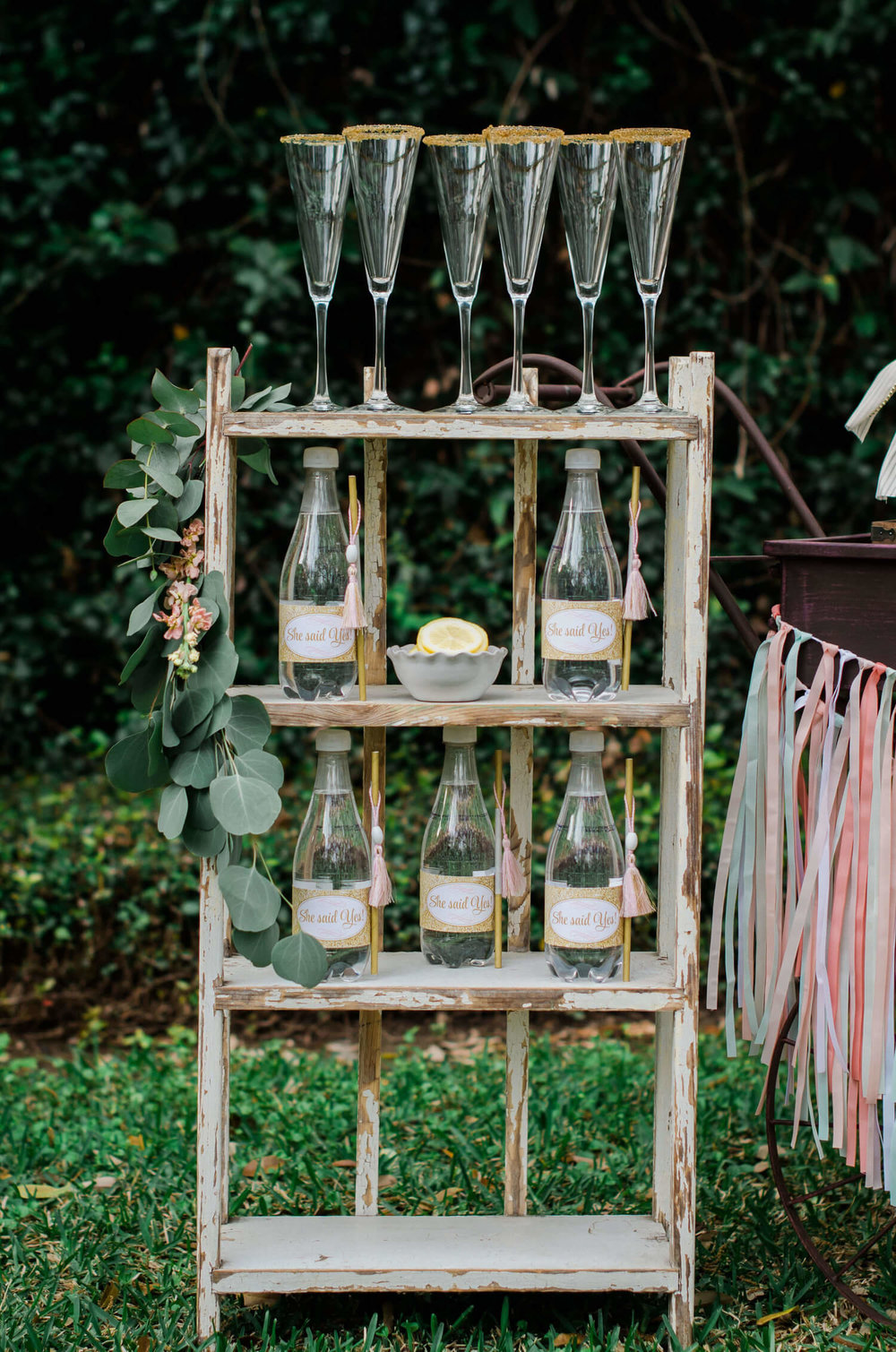 She said yes / Bridal Shower ideas / Shabby Chic Bridal Shower ideas / Mimosa Bar ideas / Bridal Shower Drink Station / Baby shower ideas / Shabby Chic Dessert table / Garden Shower party deas / Style By Carolina from MINT Event Design / www.minteventdesign.com