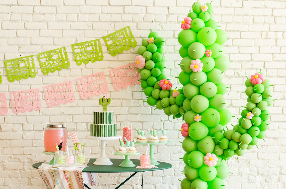Cinco de Mayo party ideas / Cinco de Mayo party decor / Cinco de Mayo dessert ideas / Cinco de Mayo dessert table / Cactus Balloon Art / DiY Cactus cupcake toppers / Papel Picado decor / Cactus party Ideas / Sahuaro party ideas / Southwestern party ideas / Mint and Pink party ideas / Styled by Carolina from MINT Event Design / www.minteventdesign.com