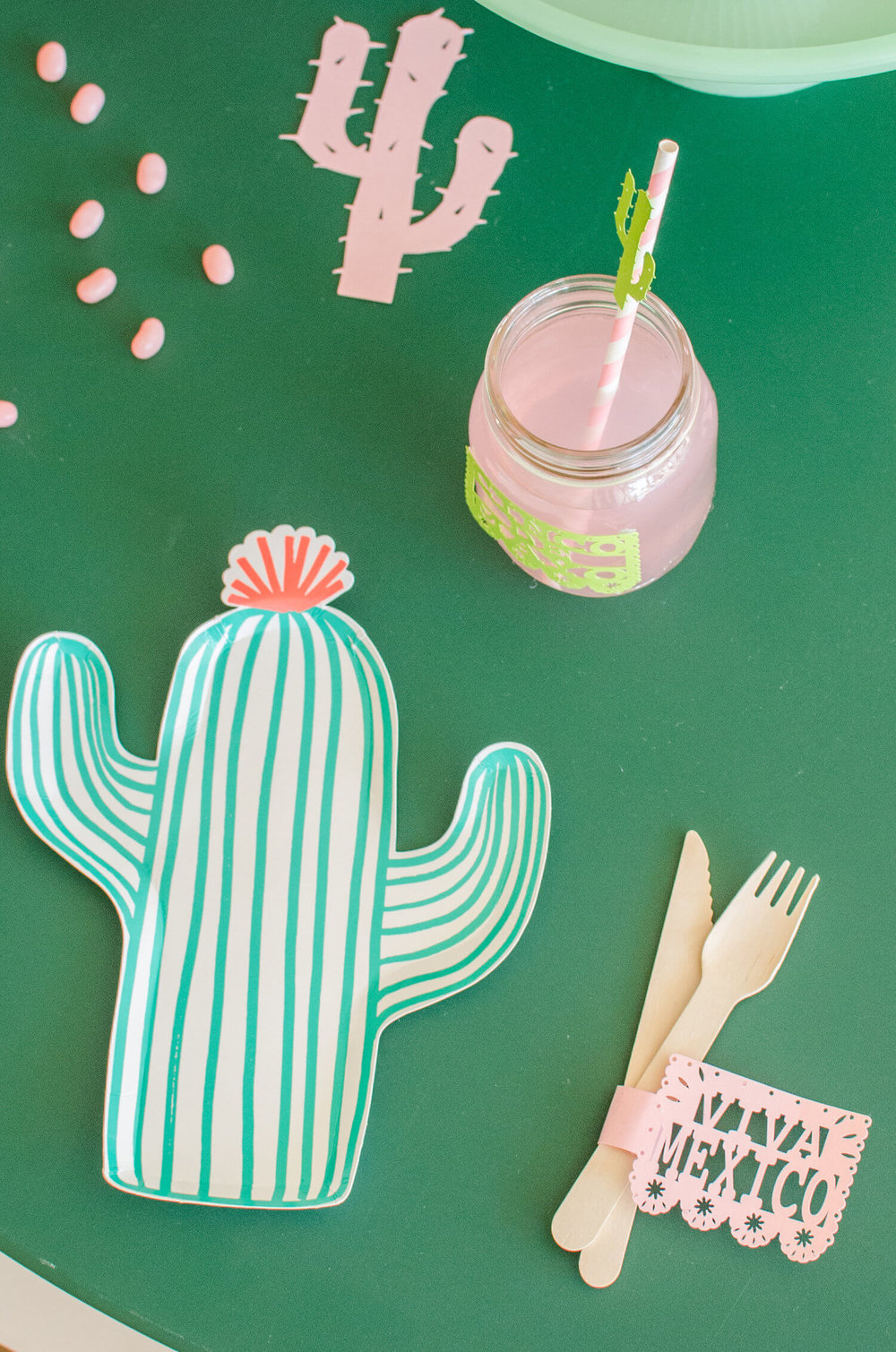 Cinco de Mayo tablescape / Cactus plates / Southwestern party ideas / Cinco de Mayo party ideas / Viva Mexico / Southwestern tablescape / Styled by Carolina from MINT Event Design / www.minteventdesign.com