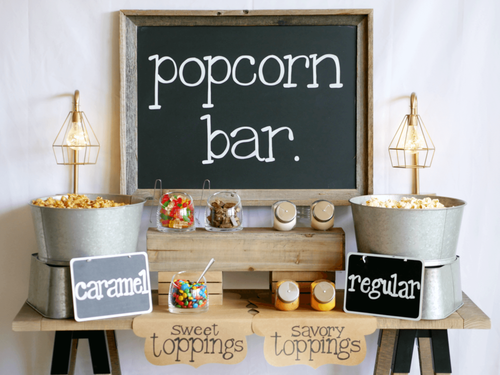 Rustic Popcorn Bar Mint Event Design