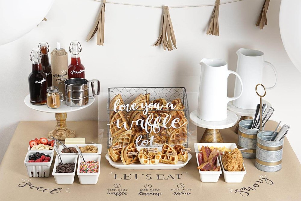 This Waffle Bar is one of the best Brunch Party Ideas for Mothers day. It's a fun rustic theme for a breakfast bar with sweet and savory toppings. Click to see how to set up your very own waffle bar at Mint Event Design www.minteventdesign.com #wafflebar #brunch #breakfast #mothersday #brunchideas #partyideas