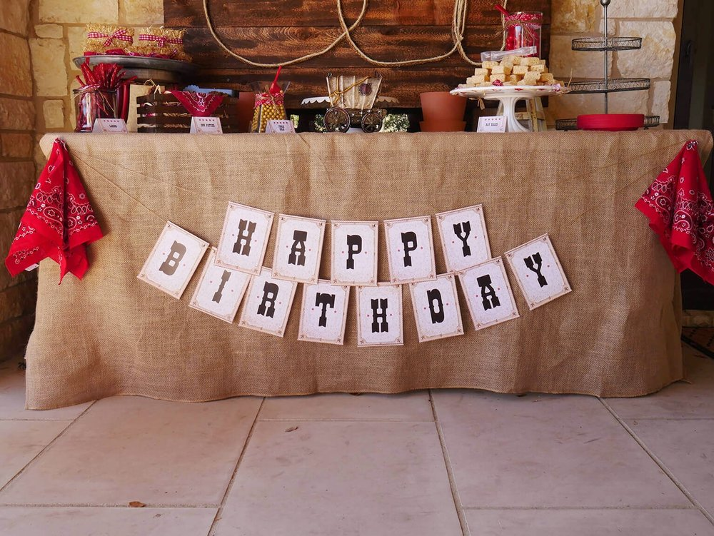 Happy Birthday Cowboy Party Banner