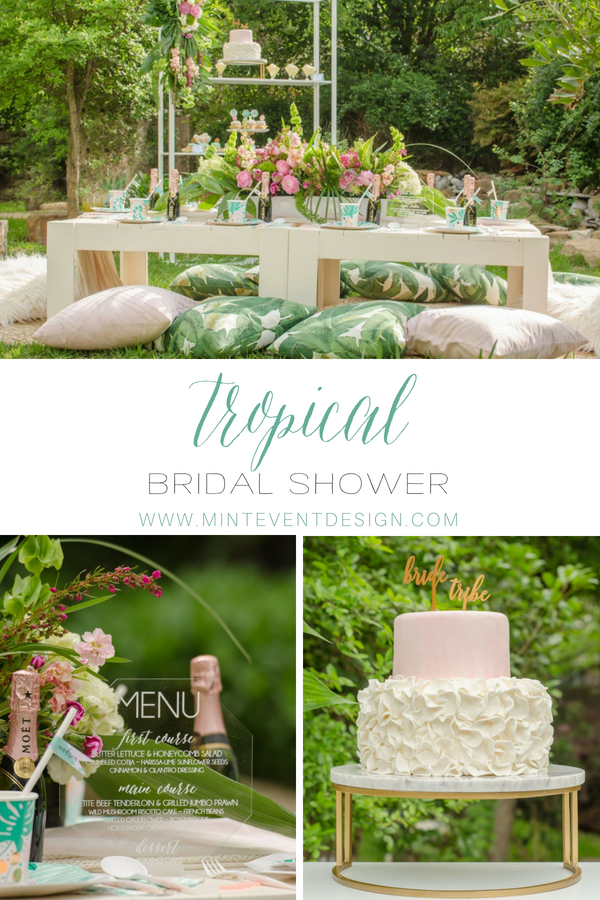 Tropical Bridal Shower Ideas / Tropical Bridal Shower decor / Tropical Bridal Shower desserts / Outdoor party ideas for girls / outdoor party decor / Tablescape for outdoors party / Tropical Drink  station /  Acrylic Menu / Tropical party Printables / Styled by Carolina from MINT Event Design / www.minteventdesign.com