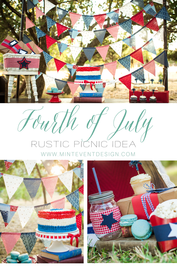 Beautiful 4th of July party idea when celebrating outdoors, Love the picnic idea and the drink station is so cool. Great for any Patriotic celebration. Styled by Carolina from Mint Event Design.