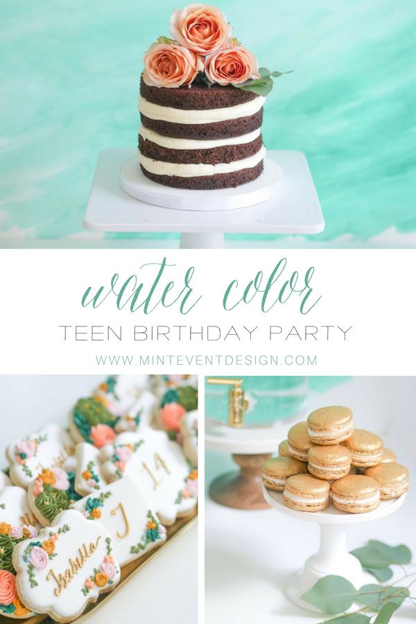 Beautiful watercolor dessert table idea for teens