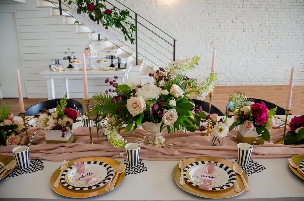 Tablescape with beautiful centerpieces
