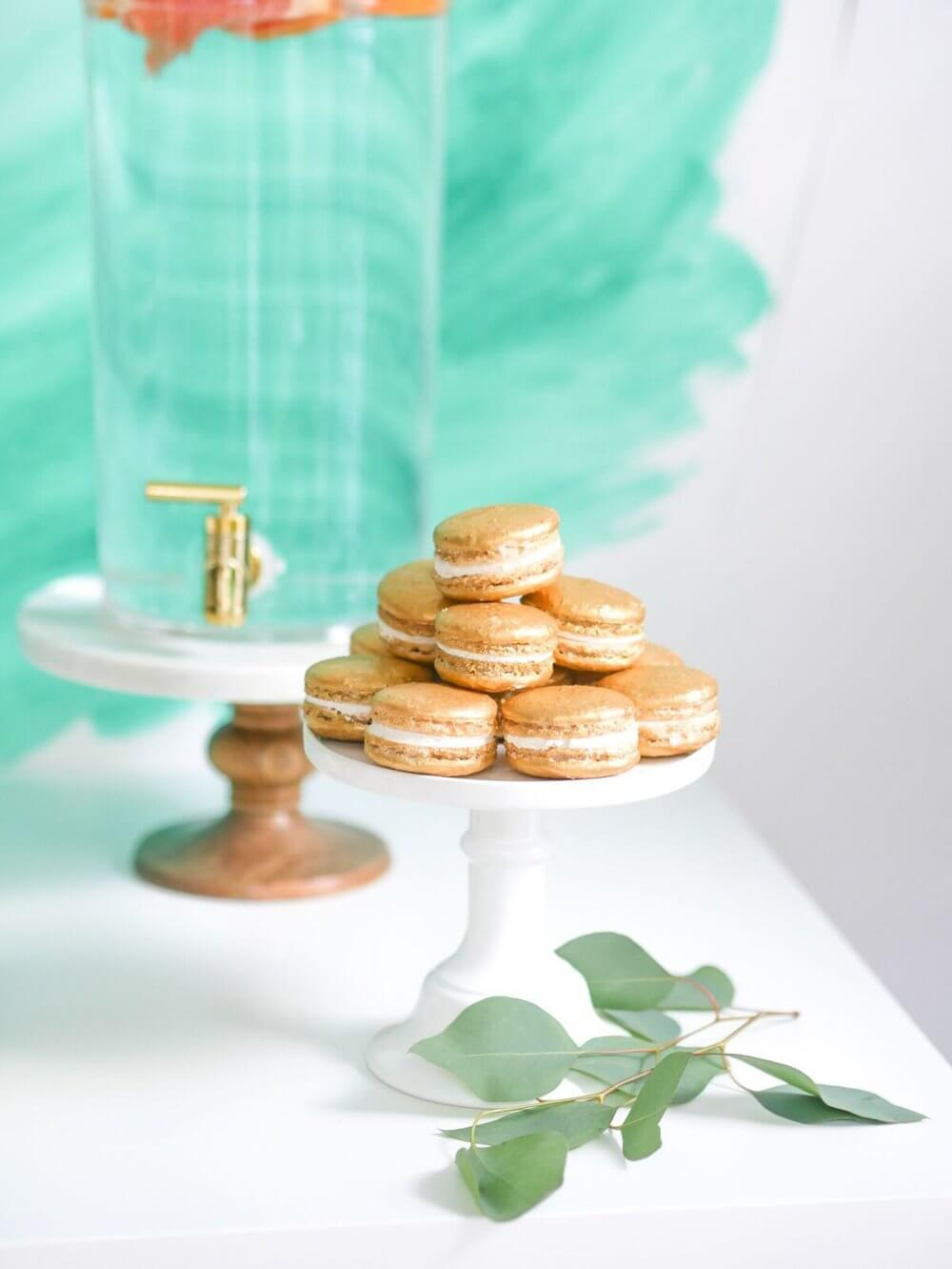 Yummy Macarons in gold color