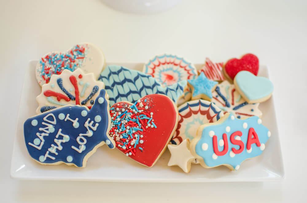4th of July cookies - USA, Heart, Fireworks, Stars, America