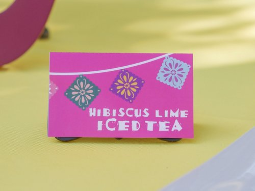 Hibiscus Lime iced tea drink label.