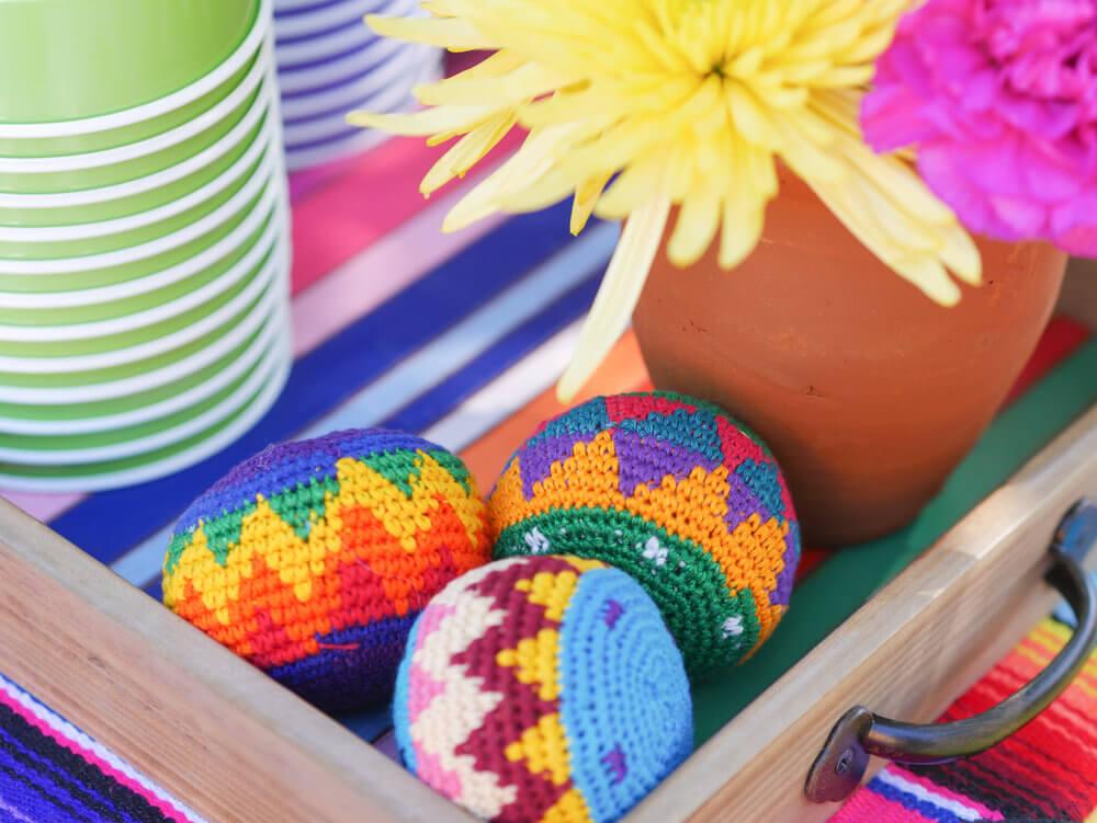 Fun and colorful sacks on the display cart.