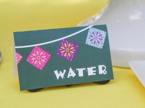 Water drink label in fiesta theme.