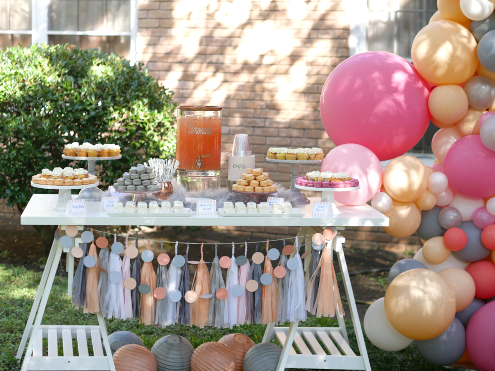 Love this upscale dessert table, the combination of colors and textures is fabulous! I can totally see this for a girl's baby shower, a bridal shower or even for a girls party. Styled by Carolina from MINT Event Design in Austin, Texas