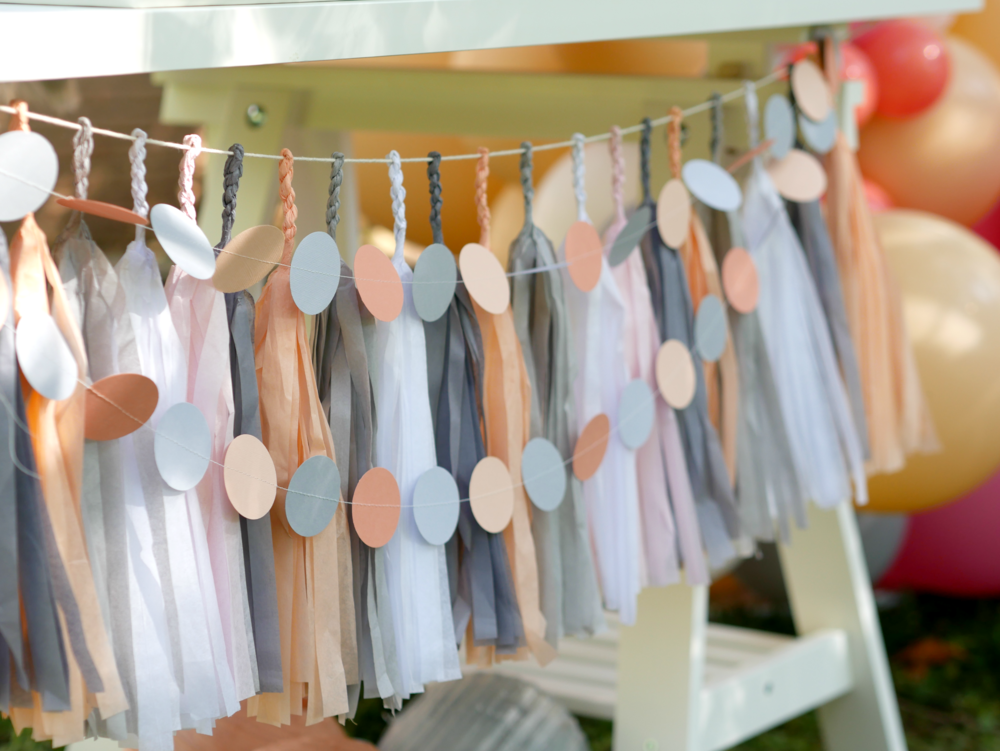 Gray and Peach tassel banner, lovely decorations for a dessert table.