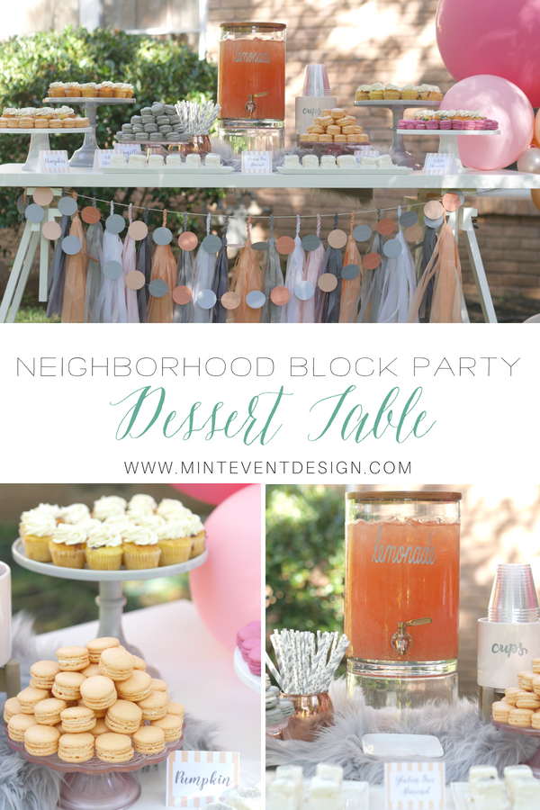 Gray and Peach dessert table, perfect for any girl's party, baby shower and bridal shower. Showcases a balloon garland, styled by Carolina from MINT Event Design in Austin Texas