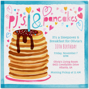 PJ's and Pancakes Party Invitation