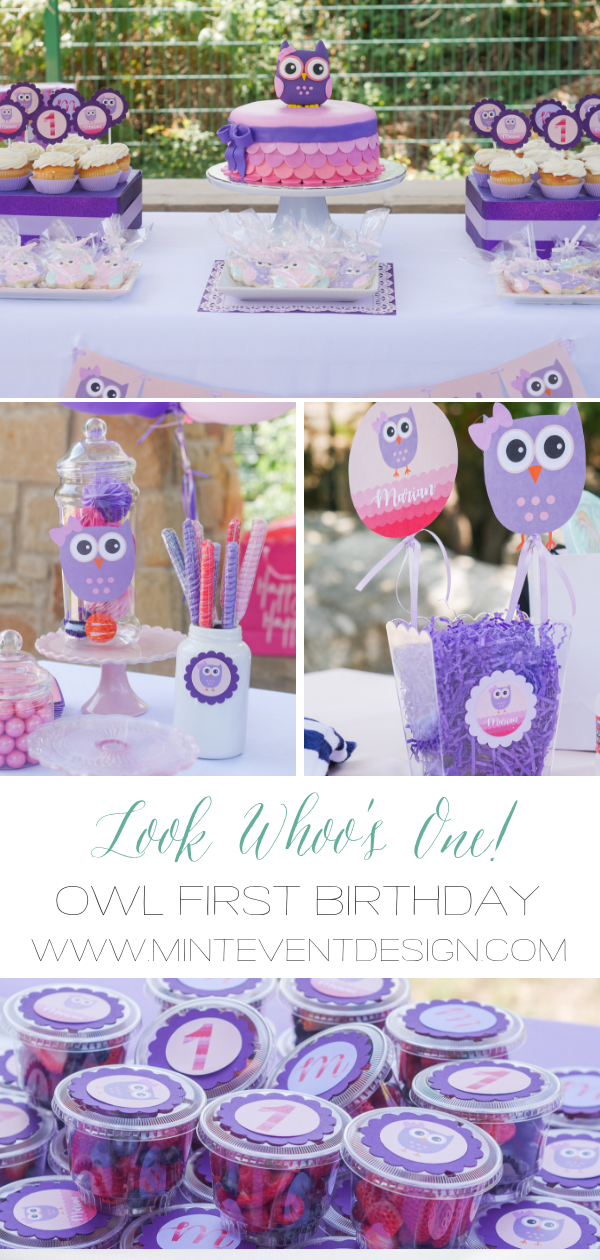 Look Whoo's One! Click to find out how to create an Owl First Birthday Party with over 10 creative DIY party details including fruit cups and party banners. There's even free owl party printables to download. Styled by party stylist Mint Event Design. #birthdayparty #partyideas #partyinspiration #owl #birthdaycake #desserttable #partyfavors #firstbirthday