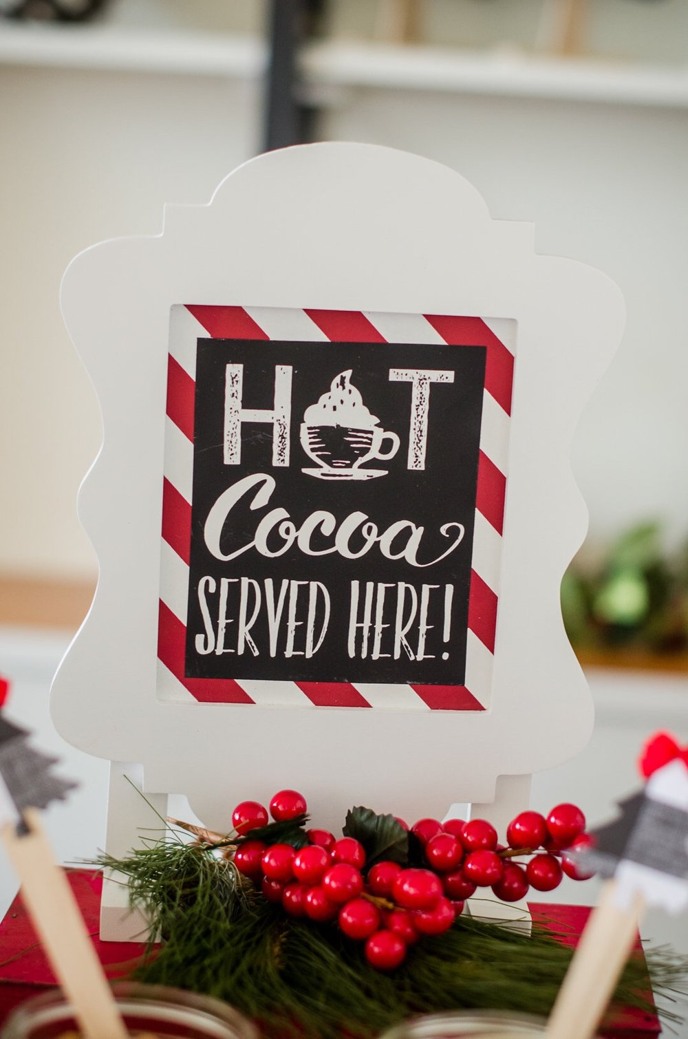 This cute hot cocoa sign is the perfect addition to any holiday party. See more holiday party inspiration from Austin based party stylist Mint Event Design at www.minteventdesign.com #holidayparty #holidays #partyideas #christmasparty #holidaypartyideas #hotcocoabar #hotcocoa