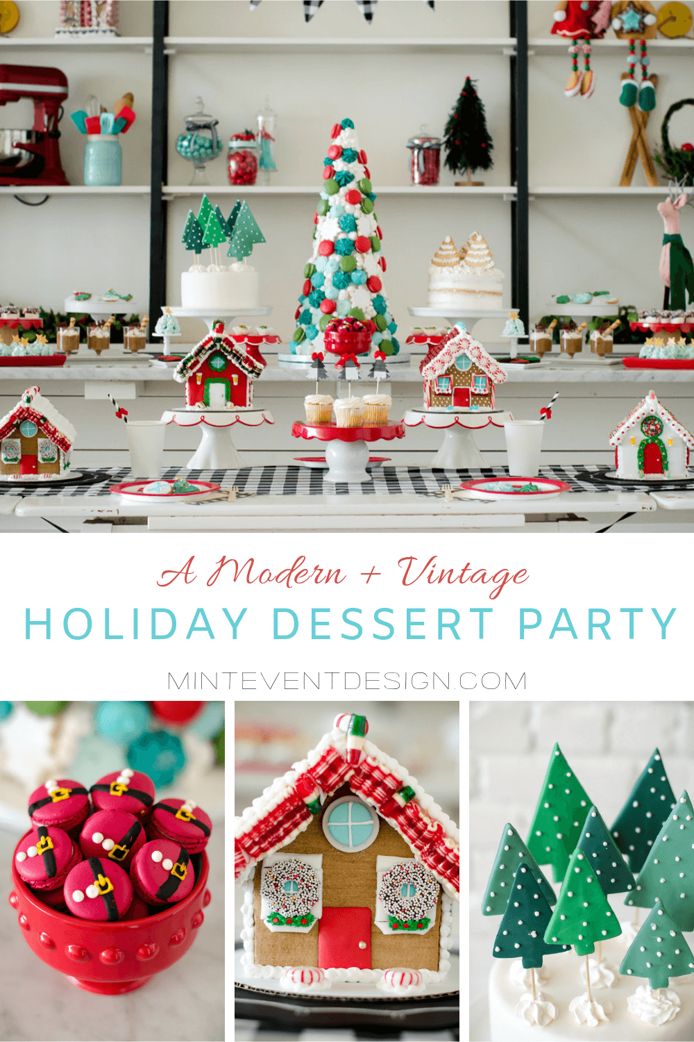 How to Host a Modern and Vintage Holiday Dessert Party. It's time for the ladies and moms to gather and celebrate the holiday season with hot cocoa and treats, talk about the Christmases of our childhoods, and decorate gingerbread houses and cookies. This gorgeous Holiday party inspiration is from Austin Texas based party stylist Mint Event Design. www.minteventdesign.com #gingerbreadhouse #holidayparty #holidays #partyideas #christmasparty #holidaypartyideas #gingerbreadhouseideas