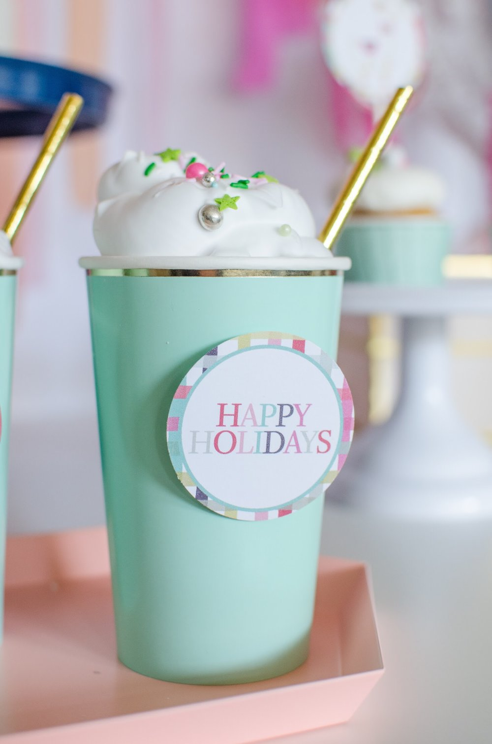 Hot cocoa at holiday parties are must and you can dress up your cups with these free printables from Mint Event Design. See more from this llama Christmas party at www.minteventdesign.com and download your free printables #holidayparty #partyideas #christmasparty #holidaypartyideas #llamaparty #llamalove #partyprintables #freeprintables