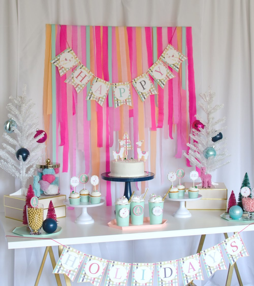 Cute and colorful llama themed holiday party from Mint Event Design. Come see how to create this colorful party backdrop and dessert table setting on www.minteventdesign.com and download your free printables #holidayparty #partyideas #christmasparty #holidaypartyideas #llamaparty #llamalove #partyprintables #freeprintables
