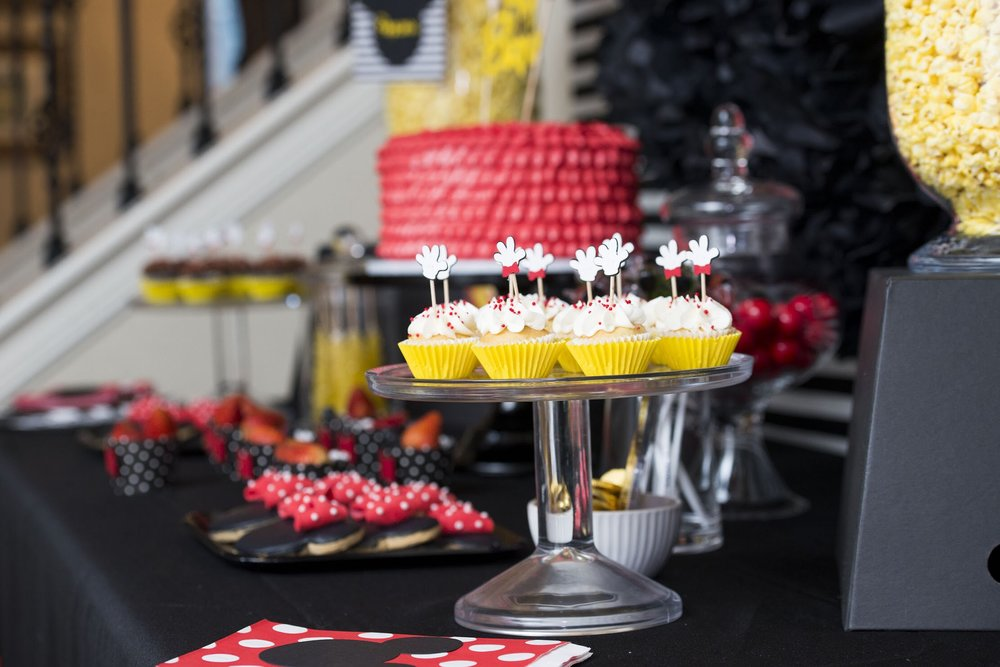Beautiful Mickey Mouse themed dessert table from Mint Event Design, Austin based party stylist