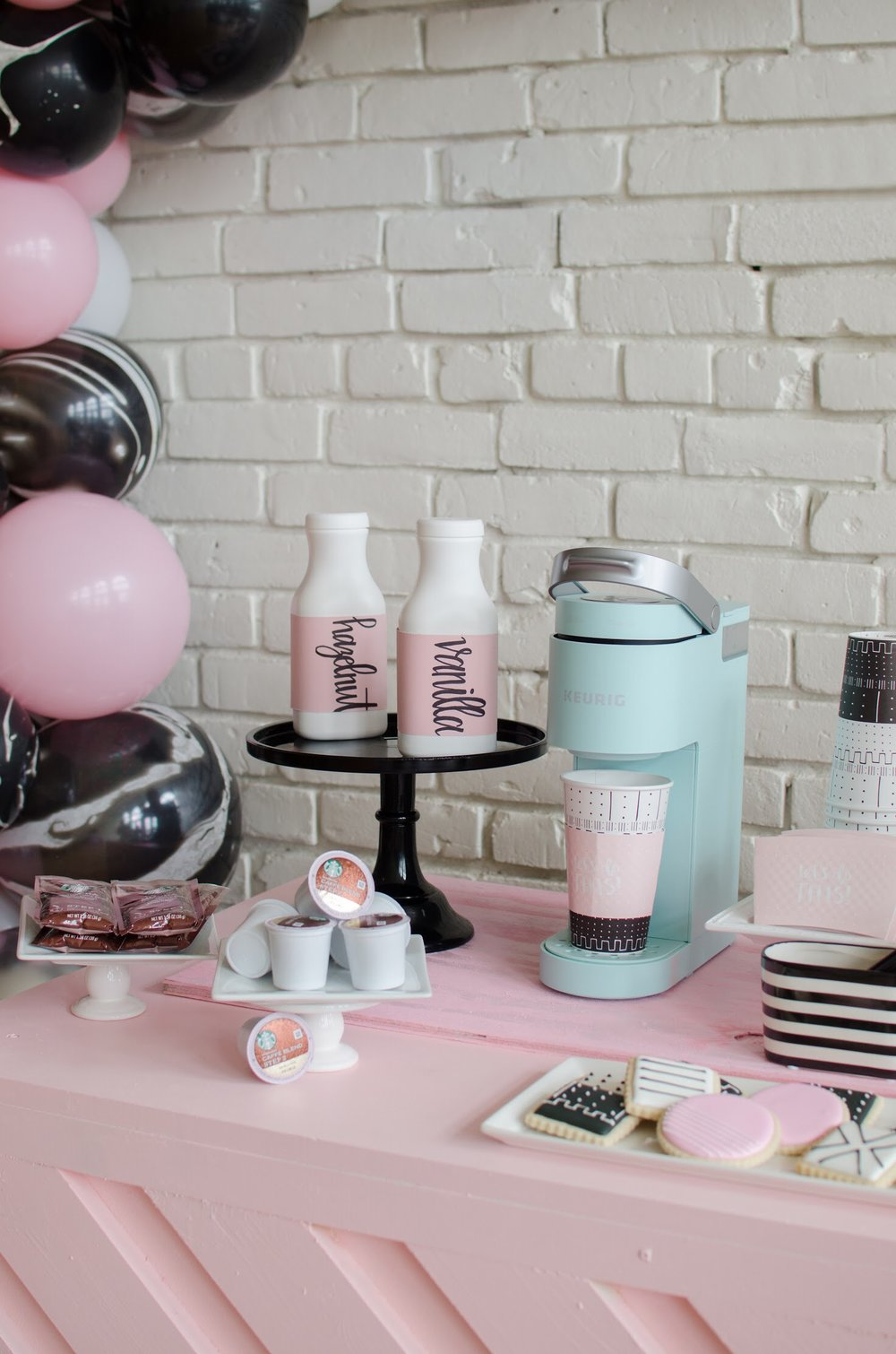 Adorable coffee and dessert bar at this Galentine's Day bash!