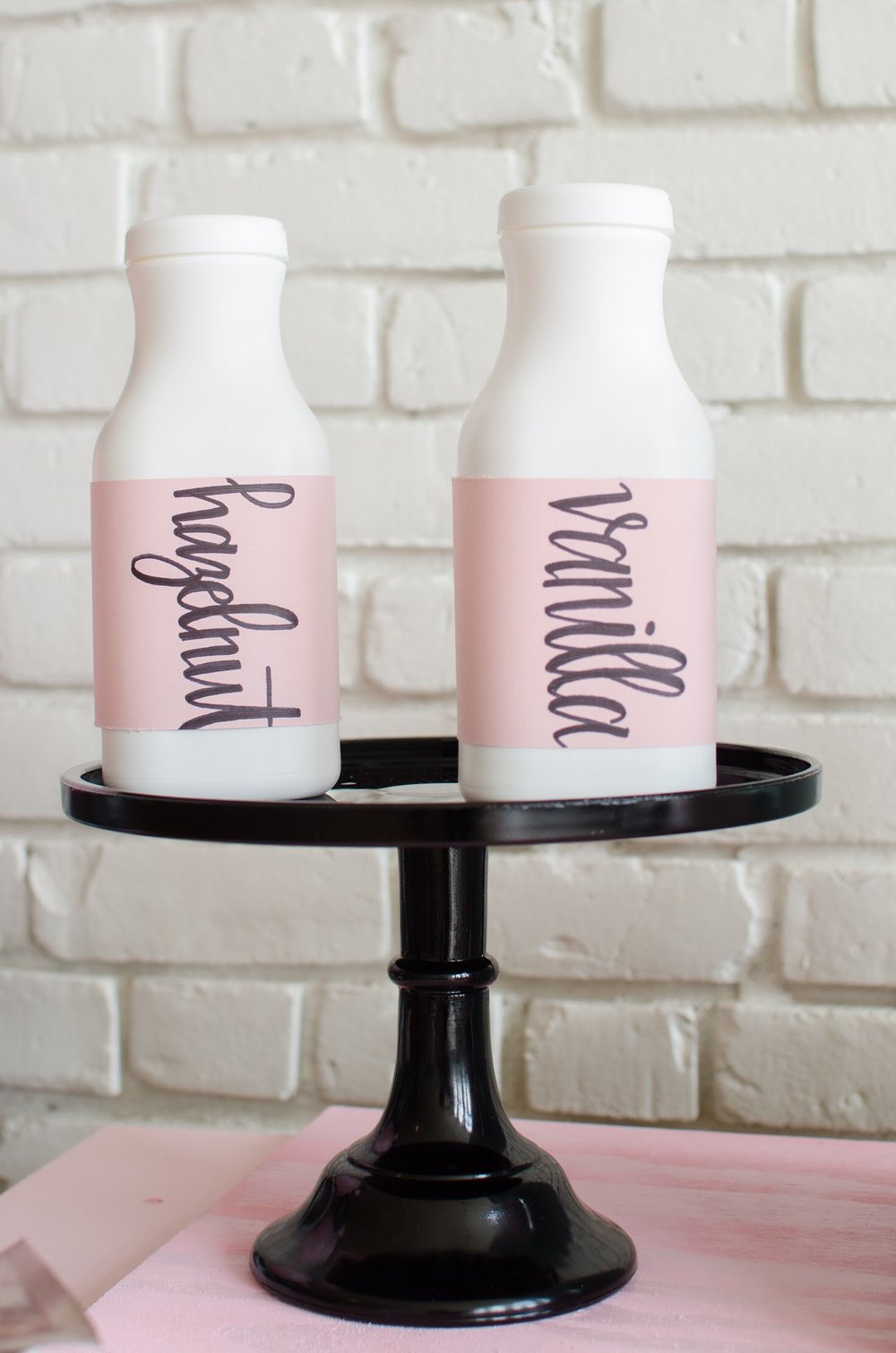 Milk jugs make the perfect addition to this coffee bar!