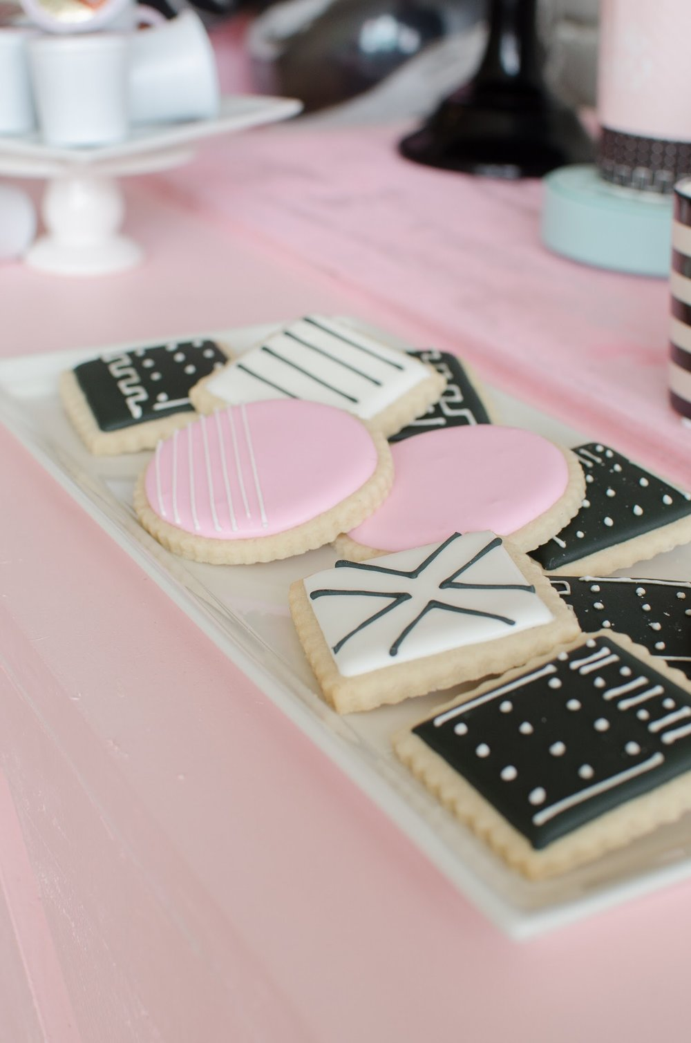 Modern & Minimalist cookie design at Galentine's Day party