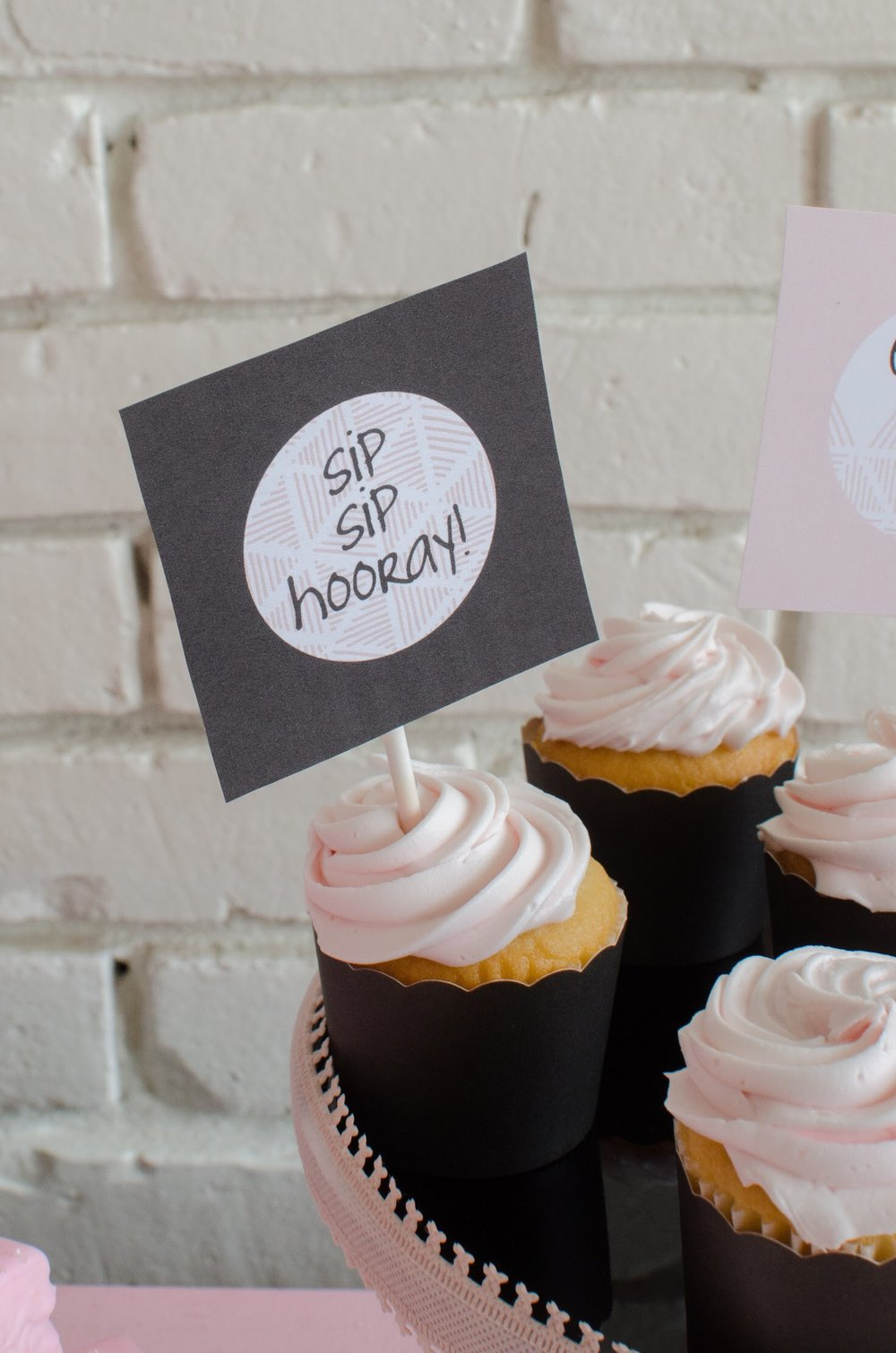 Sip, Sip, Hooray! Fun free printable cupcake toppers from Mint Event Design
