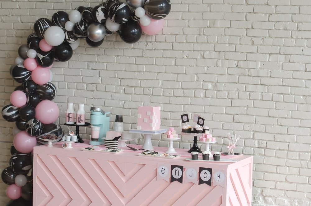 Adorable ladies coffee bar and dessert table from Mint Event Design! Perfect for Galentine's Day!