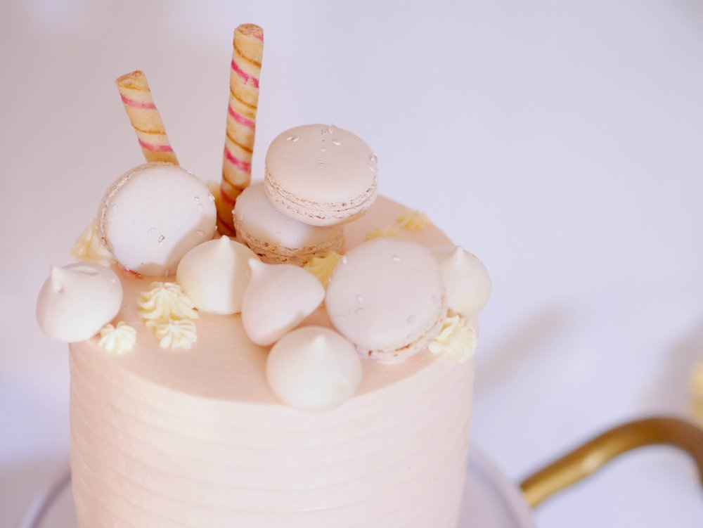 Beautiful muted blush valentines day cake