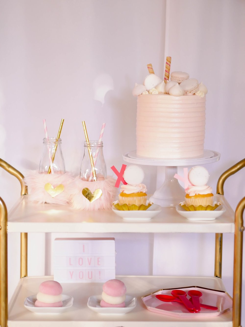 Perfectly Pink Valentine's Day dessert cart idea from Mint Event Design