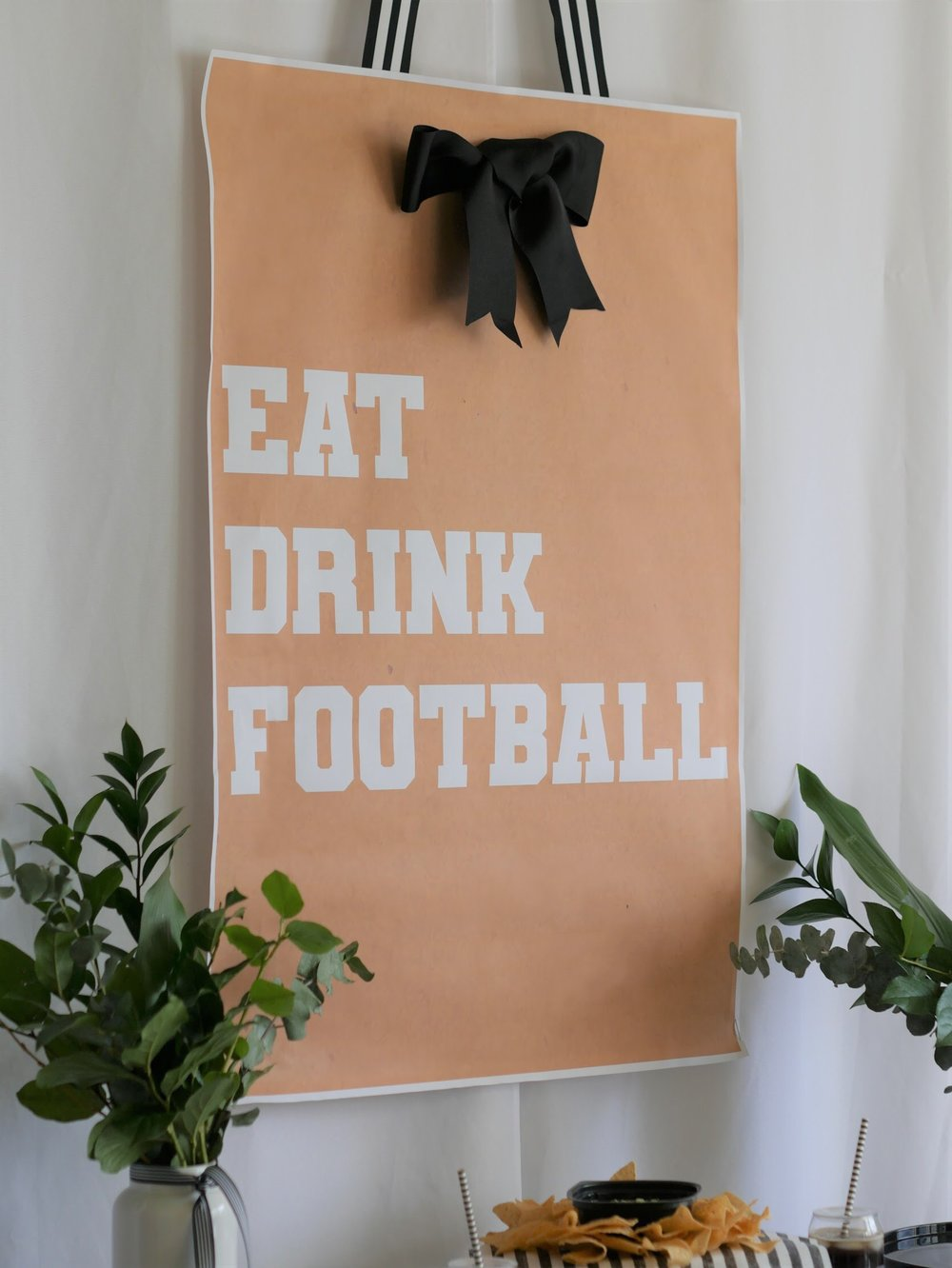 "Free Printable ""Eat Drink Football"" sign from Mint Event Design"