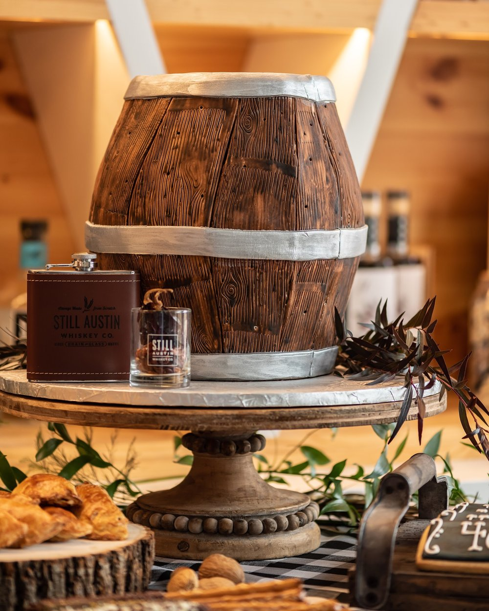 Any man would love this whiskey barrel shaped cake! Perfect for a 40th birthday party!