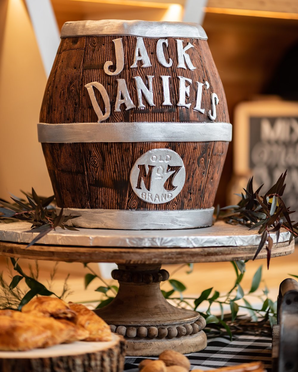 Any man would love this Jack Daniel's barrel shaped cake!