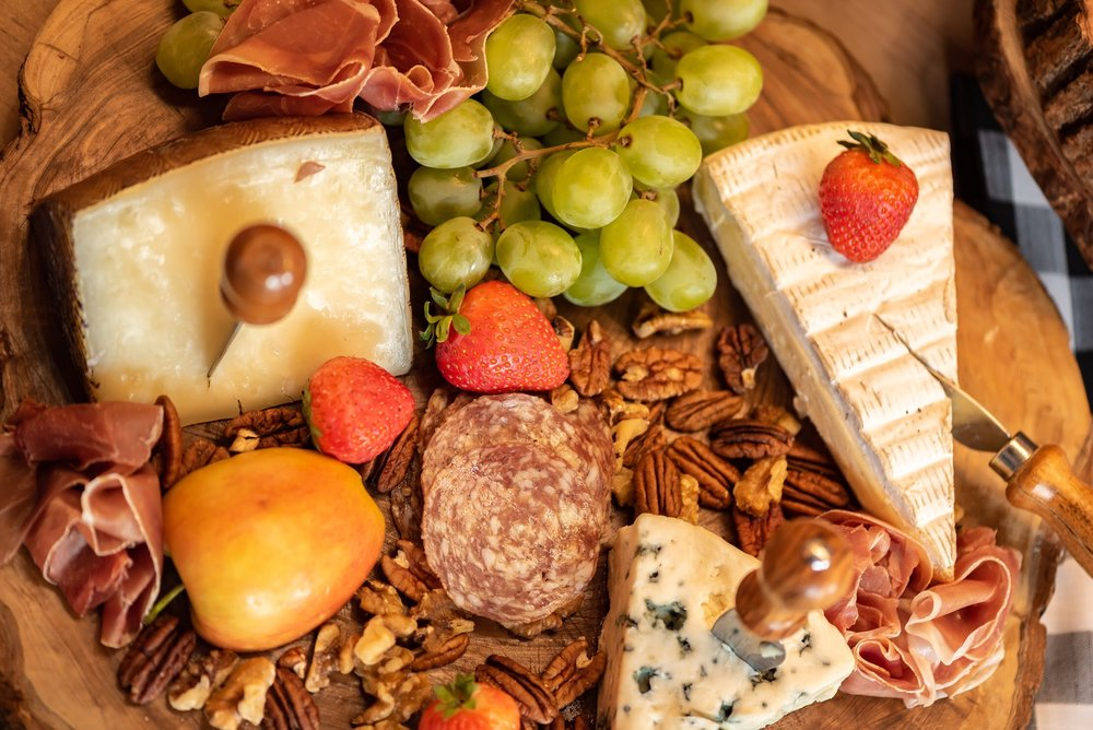 Meat and cheese charcuterie board at a men's 40th birthday