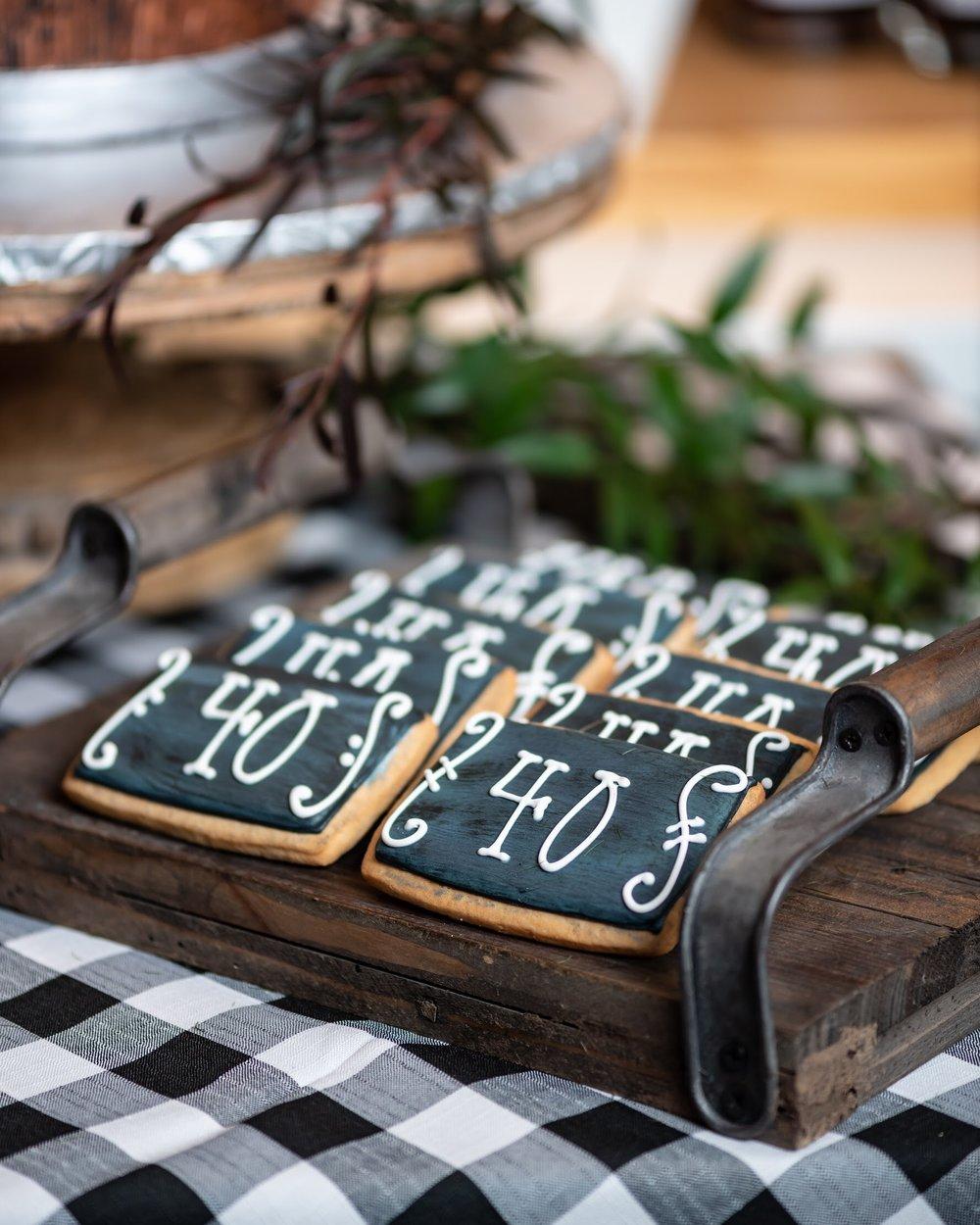 Chalkboard 40th birthday sugar cookies