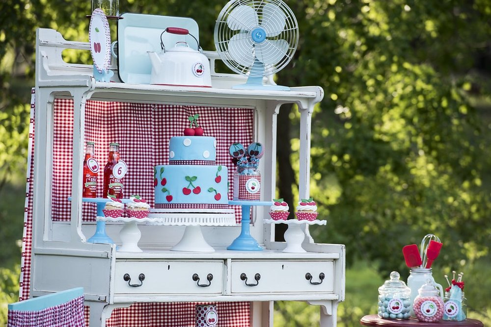 Adorable and vintage party details for a cherry on top themed birthday party. Styled by Mint Event Design in Austin Texas www.minteventdesign.com #summerparties #partyideas #kidspartyideas #partyplanning #birthdaypartyideas #kidsparty #cherryparty