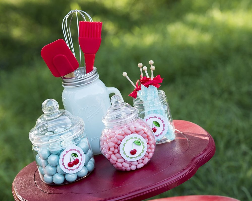 Cute vintage candy display for a cherry on top themed party. As seen on Mint Event Design www.minteventdesign.com #summerparties #partyideas #kidspartyideas #partyplanning #birthdaypartyideas #kidsparty #cherryparty
