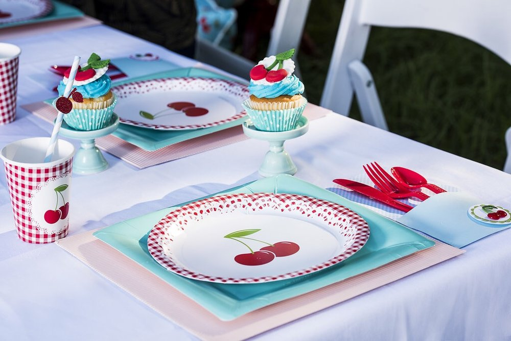 Vintage cherry birthday party ideas from Mint Event Design