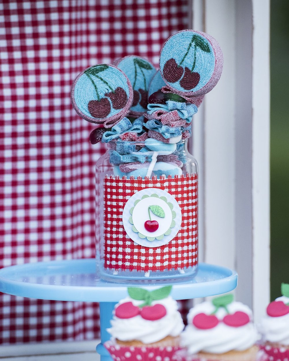 This cherry birthday party is so over the top and adorable! Loving these cherry candy kabobs by Sweets Indeed. As seen on Mint Event Design in Austin Texas www.minteventdesign.com #summerparties #partyideas #kidspartyideas #partyplanning #birthdaypartyideas #kidsparty #cherryparty