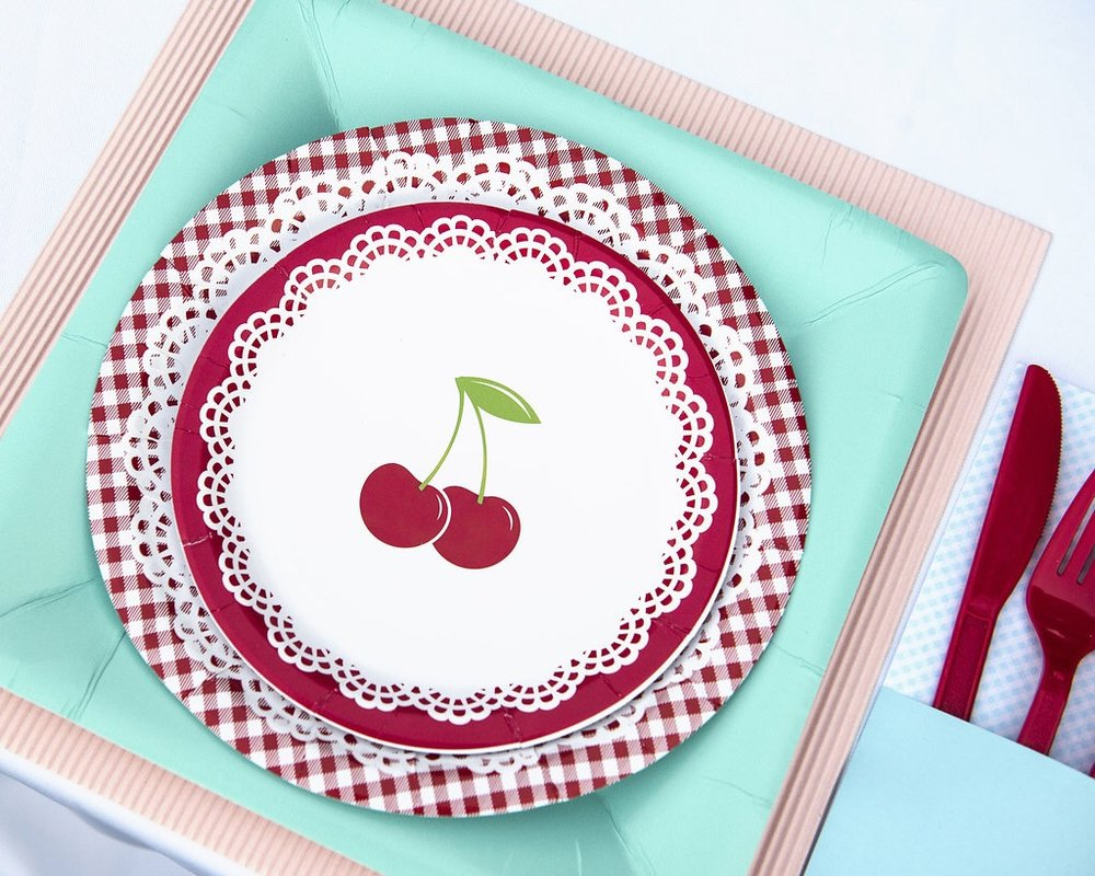 Any little girl would love this vintage cherry themed birthday party celebration