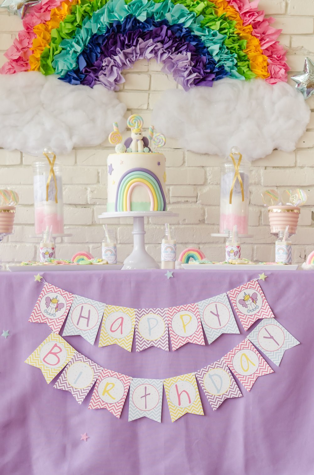 Create this Pastel Rainbow colored Unicorn Birthday Party and download this Free Happy Birthday Banner. Come see all the Unicorn Birthday Party Ideas at Mint Event Design www.minteventdesign.com #unicornparty #birthdayparty #birthdaypartyideas #pastelrainbow #freeprintables #partybanner