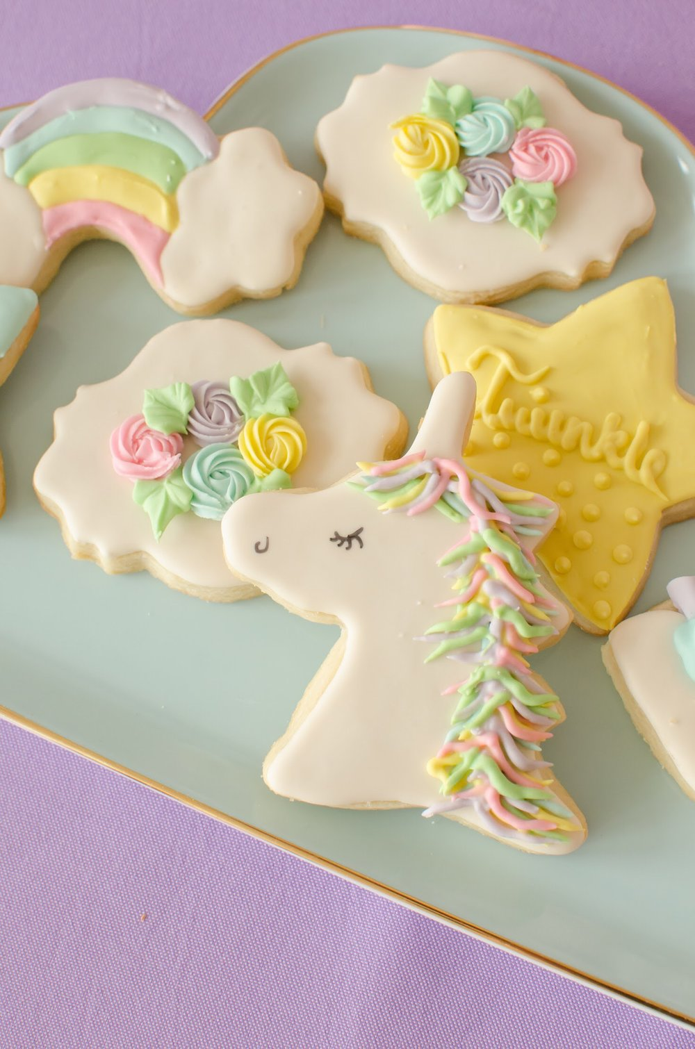 Adorable pastel Unicorn themed cookies for a Sweet Unicorn Birthday Party. See more from this party at Mint Event Design www.minteventdesign.com #unicornparty #unicorncookies #birthdayparty #birthdaypartyideas