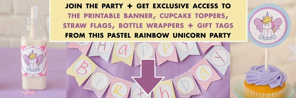 pastel rainbow unicorn party printables