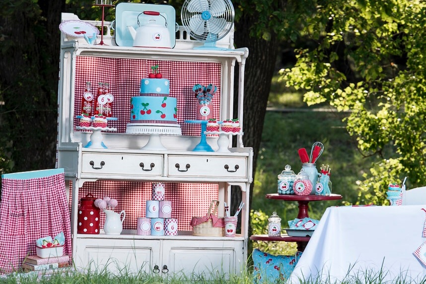 Birthday Party ideas with cherries and gingham pattern. As seen on Mint Event Design www.minteventdesign.com #summerparties #partyideas #kidspartyideas #partyplanning #birthdaypartyideas #kidsparty #cherryparty