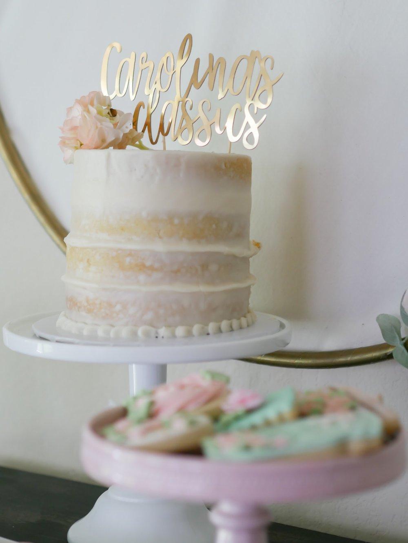 Gold cake topper. As seen on Mint Event Design www.minteventdesign.com